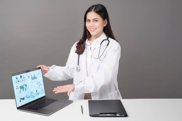 close up doctor is showing medical analytics data medical technology concept